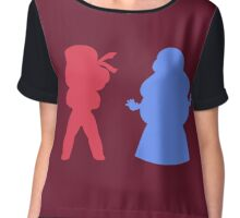 Ruby and Sapphire Silhouettes Chiffon Top