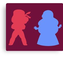 Ruby and Sapphire Silhouettes Canvas Print