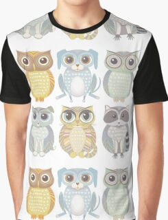 Owls, Dogs, Cat, Raccoon Graphic T-Shirt