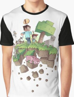 """Falling MineCraft World"" Graphic T-Shirt"