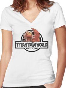 Tyrantrum World Women's Fitted V-Neck T-Shirt
