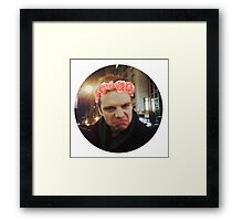 Sebastian Stan with Flower Crown Sticker Framed Print