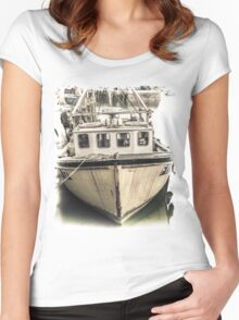 Yellow Fishing Boat - Cornwall Women's Fitted Scoop T-Shirt