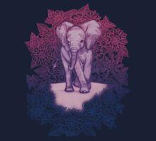 Cute Baby Elephant in pink, purple & blue One Piece - Long Sleeve