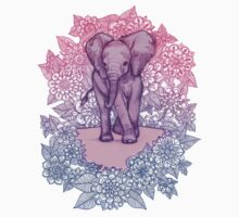 Cute Baby Elephant in pink, purple & blue One Piece - Short Sleeve