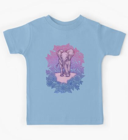 Cute Baby Elephant in pink, purple & blue Kids Tee