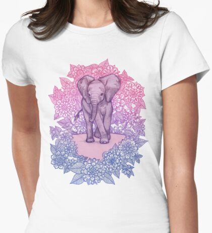 Cute Baby Elephant in pink, purple & blue Womens Fitted T-Shirt