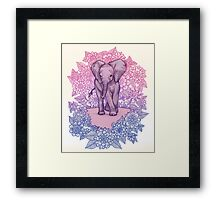 Cute Baby Elephant in pink, purple & blue Framed Print