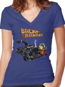 Back To The Banana v2 Women's Fitted V-Neck T-Shirt