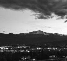 Pikes Peak Sunset #7 (Black and White) Sticker
