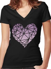 Shattered Heart - Purple/Pink Women's Fitted V-Neck T-Shirt