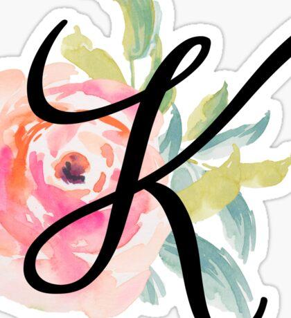 Floral Monogram K Sticker