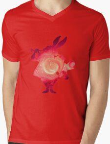 Galaxy White Rabbit Mens V-Neck T-Shirt