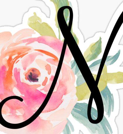 Floral Monogram N Sticker