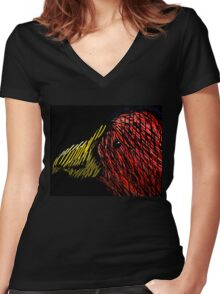 Abstract Bird Women's Fitted V-Neck T-Shirt