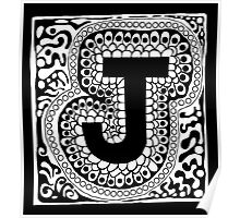Initial J Black and White Poster