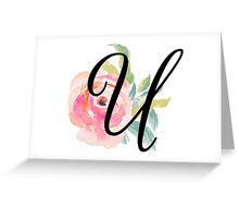 Floral Monogram U Greeting Card