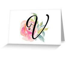 Floral Monogram V Greeting Card