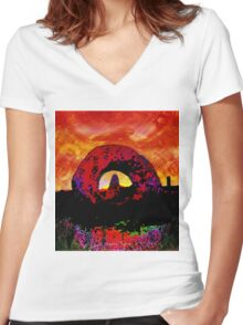 ANCIENT LANDSCAPE Women's Fitted V-Neck T-Shirt