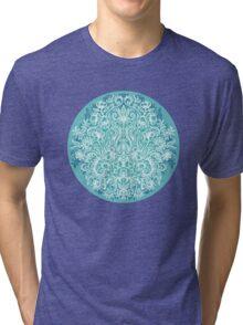 Spring Arrangement - teal & white floral doodle  Tri-blend T-Shirt