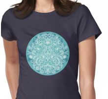 Spring Arrangement - teal & white floral doodle  Womens Fitted T-Shirt