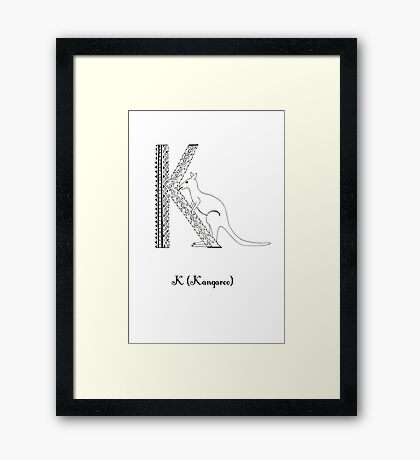 K is for Kangaroo Framed Print