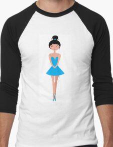Beautiful Ballerina in Tutu Skirt ( Blue ) Men's Baseball ¾ T-Shirt