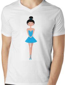 Beautiful Ballerina in Tutu Skirt ( Blue ) Mens V-Neck T-Shirt