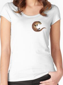 Swimming Otter Isolated Women's Fitted Scoop T-Shirt
