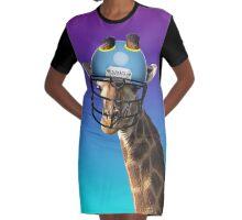 Funny Giraffe Graphic T-Shirt Dress