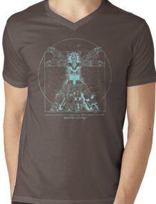 Voltruvian Man (Blue) Mens V-Neck T-Shirt