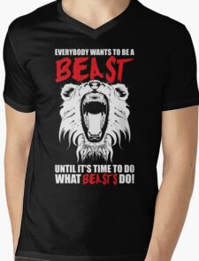 Everybody Wants To Be A Beast (Roaring Lion) Mens V-Neck T-Shirt