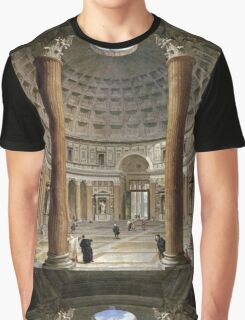 Vintage famous art - Giovanni Paolo Panini - The Interior Of The Pantheon, Rome Graphic T-Shirt