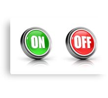 on or off choice or switch 3D icons Canvas Print