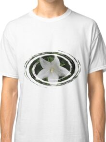 White Flower in a Green Swirl Classic T-Shirt