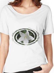 White Flower in a Green Swirl Women's Relaxed Fit T-Shirt