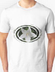 White Flower in a Green Swirl Unisex T-Shirt