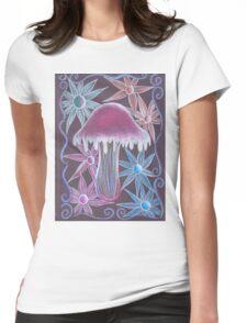 Trippy Flower Mushroom Womens Fitted T-Shirt