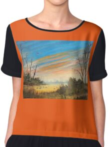 Evening Duck Hunt Chiffon Top