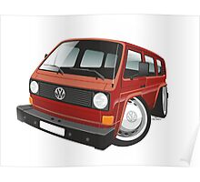 VW T3 bus caricature red Poster
