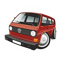 VW T3 bus caricature red Photographic Print