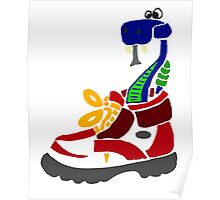 Cool Funky Funny Snake in Hiking Boot Poster
