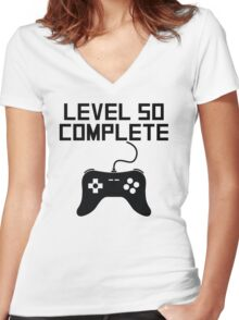 Level 50 Complete 50th Birthday Women's Fitted V-Neck T-Shirt