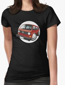 VW T3 bus caricature red Womens Fitted T-Shirt