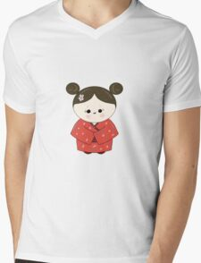 Kokeshi Doll.  Mens V-Neck T-Shirt