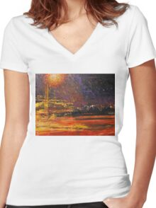 Night's traffic Women's Fitted V-Neck T-Shirt