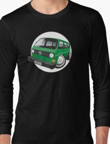 VW T3 bus caricature green Long Sleeve T-Shirt