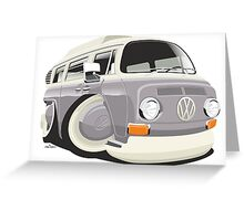 VW T2 bus caricature grey Greeting Card