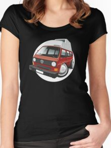 VW T3 camper caricature red Women's Fitted Scoop T-Shirt