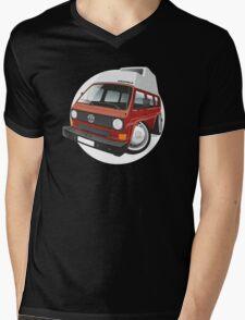 VW T3 camper caricature red Mens V-Neck T-Shirt